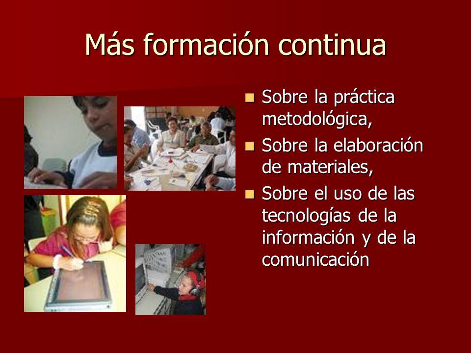 Más formación continua Sobre la práctica metodológica, Sobre la práctica metodológica, Sobre la elaboración de materiales, Sobre la elaboración de mat