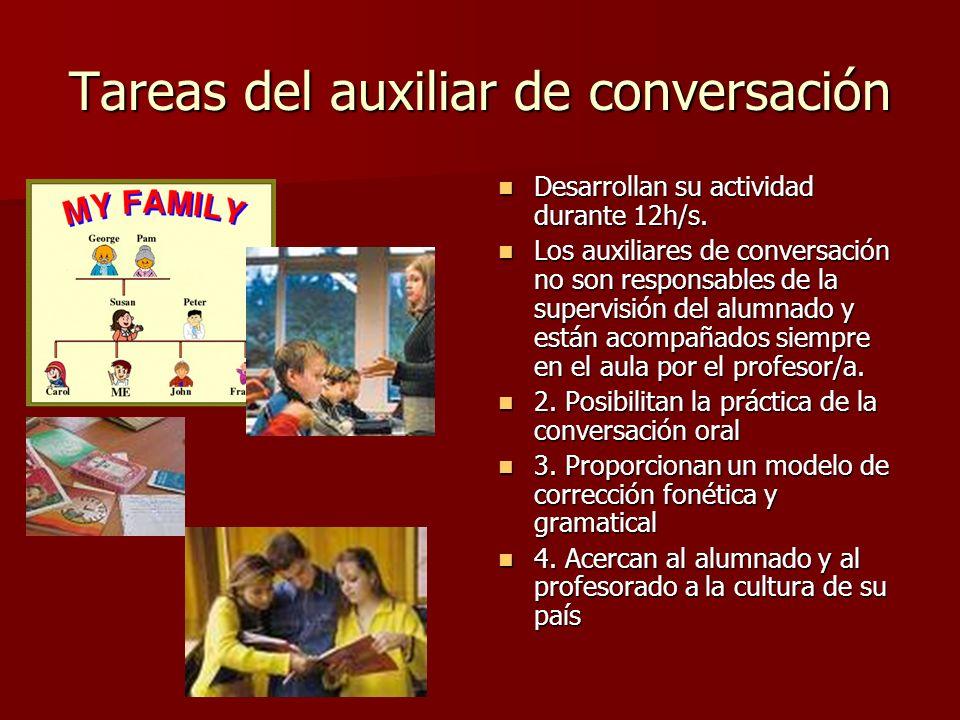 Tareas del auxiliar de conversación Desarrollan su actividad durante 12h/s. Desarrollan su actividad durante 12h/s. Los auxiliares de conversación no