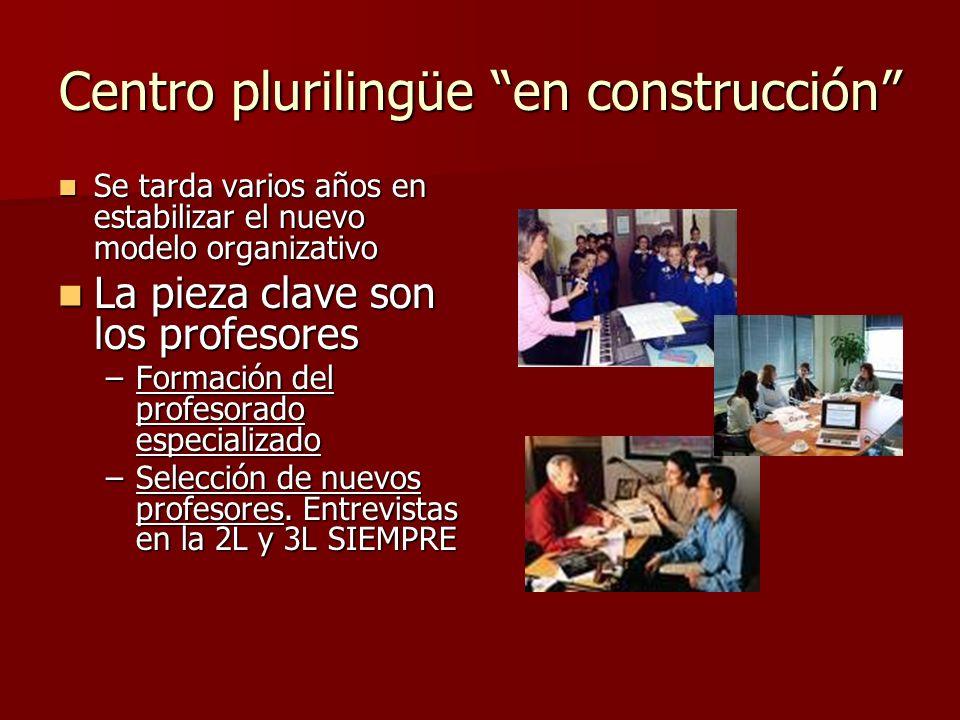 Centro plurilingüe en construcción Se tarda varios años en estabilizar el nuevo modelo organizativo Se tarda varios años en estabilizar el nuevo model