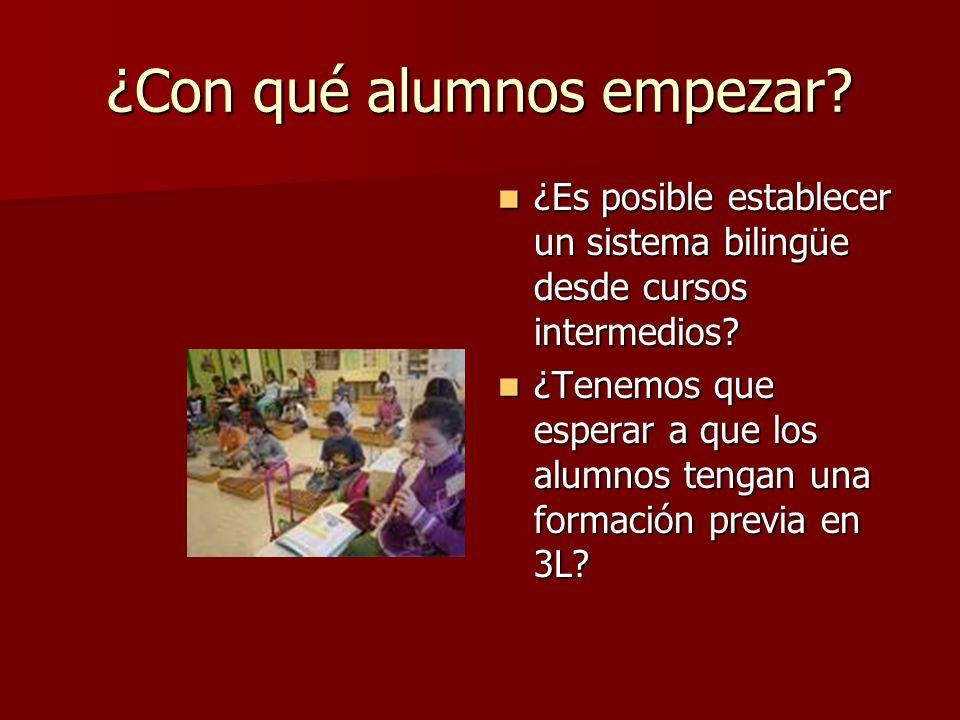 ¿Con qué alumnos empezar? ¿Es posible establecer un sistema bilingüe desde cursos intermedios? ¿Es posible establecer un sistema bilingüe desde cursos