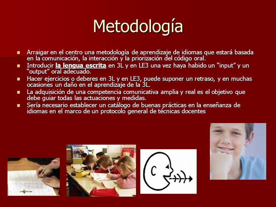 Metodología Arraigar en el centro una metodología de aprendizaje de idiomas que estará basada en la comunicación, la interacción y la priorización del