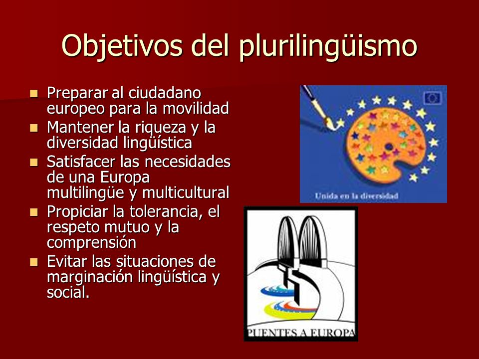 Objetivos del plurilingüismo Preparar al ciudadano europeo para la movilidad Preparar al ciudadano europeo para la movilidad Mantener la riqueza y la