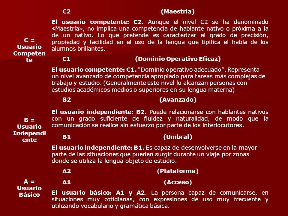 C = Usuario Competen te C2(Maestría) El usuario competente: C2. Aunque el nivel C2 se ha denominado «Maestría», no implica una competencia de hablante