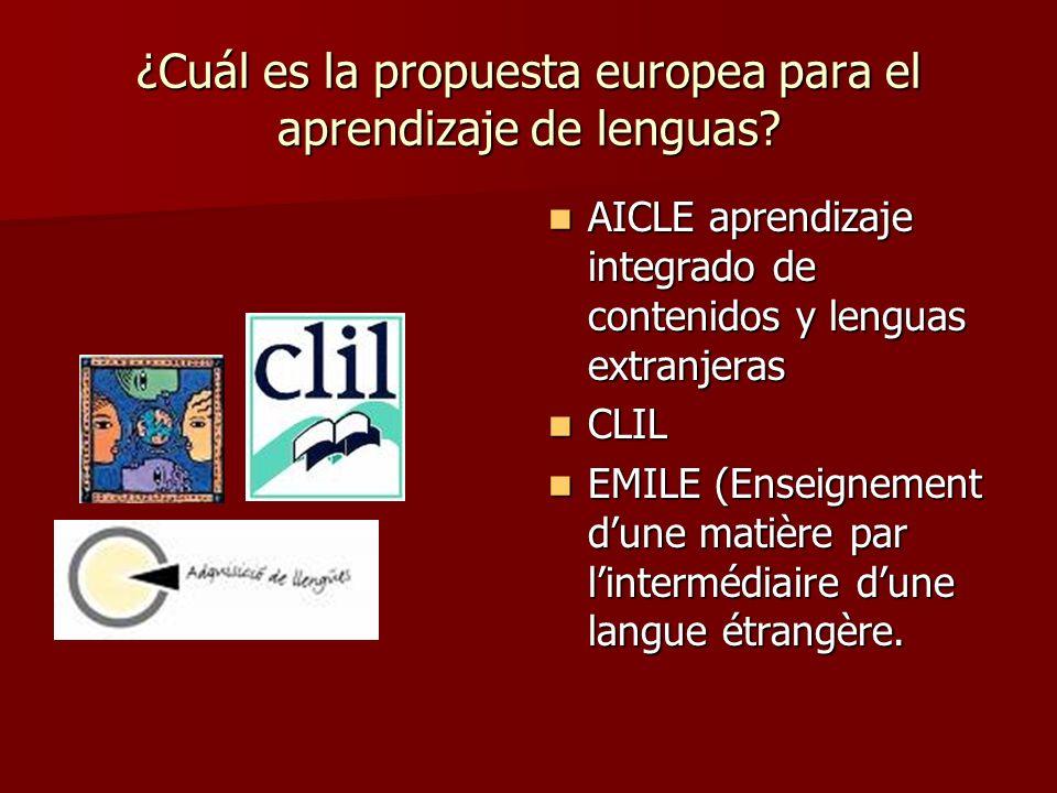 ¿Cuál es la propuesta europea para el aprendizaje de lenguas? AICLE aprendizaje integrado de contenidos y lenguas extranjeras AICLE aprendizaje integr