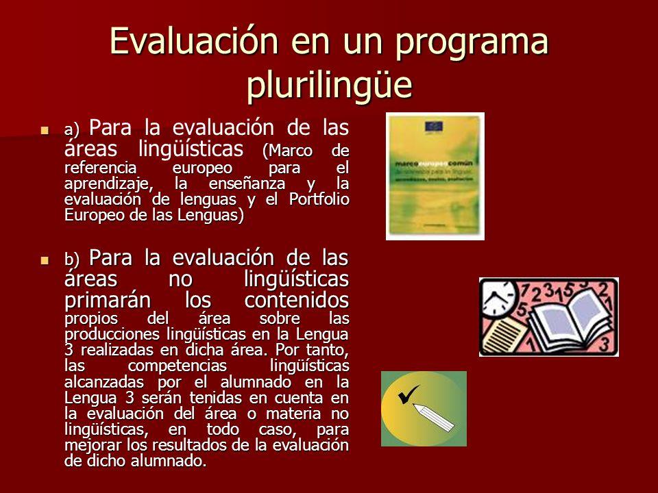 Evaluación en un programa plurilingüe a) (Marco de referencia europeo para el aprendizaje, la enseñanza y la evaluación de lenguas y el Portfolio Euro
