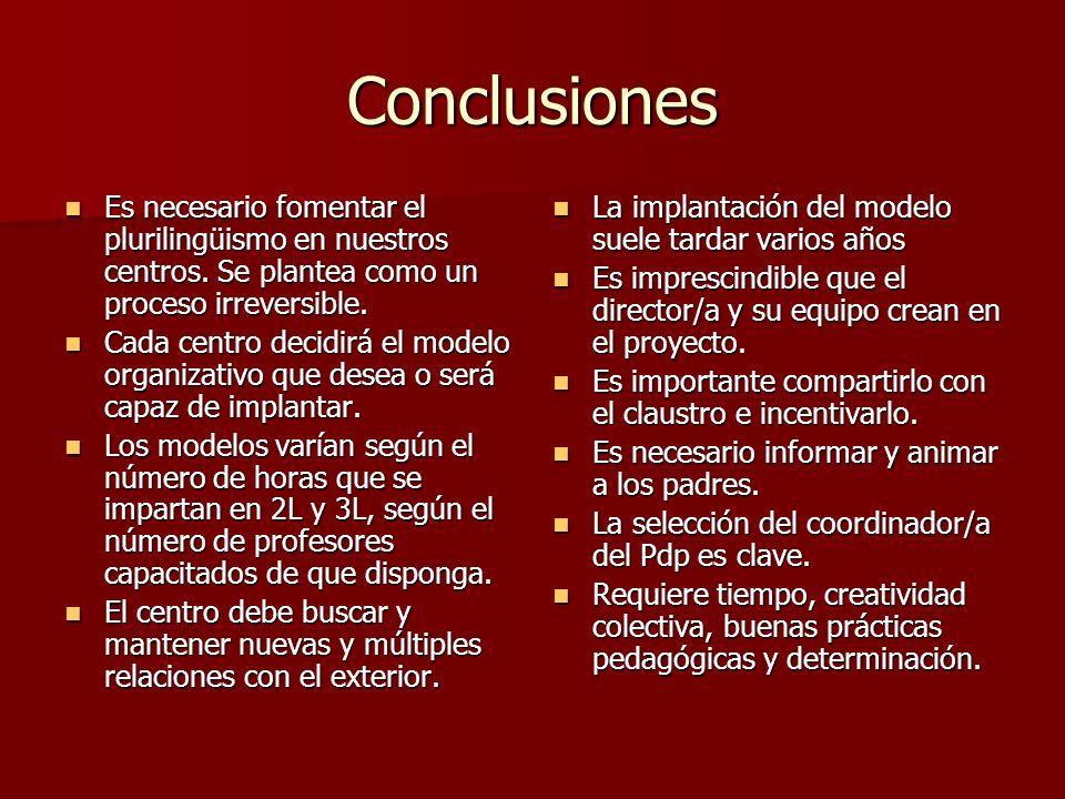 Conclusiones Es necesario fomentar el plurilingüismo en nuestros centros. Se plantea como un proceso irreversible. Es necesario fomentar el plurilingü