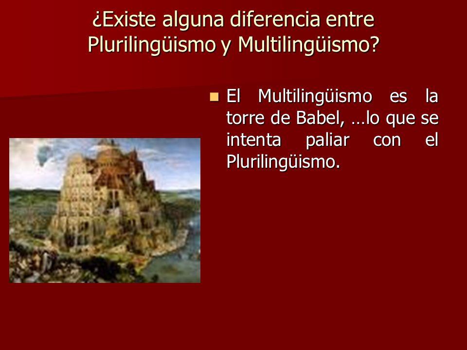 ¿Existe alguna diferencia entre Plurilingüismo y Multilingüismo? El Multilingüismo es la torre de Babel, …lo que se intenta paliar con el Plurilingüis
