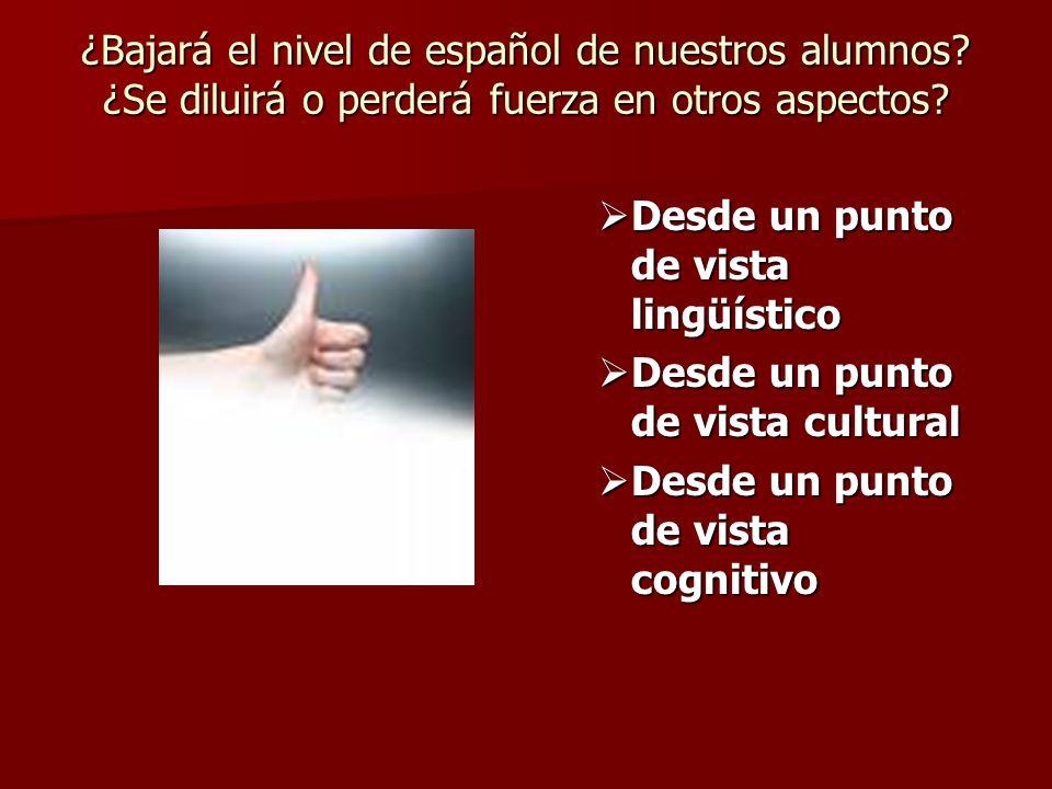 ¿Bajará el nivel de español de nuestros alumnos? ¿Se diluirá o perderá fuerza en otros aspectos? Desde un punto de vista lingüístico Desde un punto de