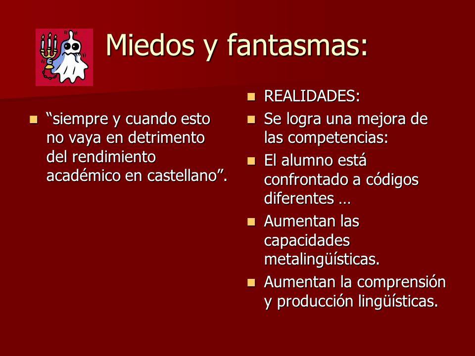 Miedos y fantasmas: siempre y cuando esto no vaya en detrimento del rendimiento académico en castellano. siempre y cuando esto no vaya en detrimento d