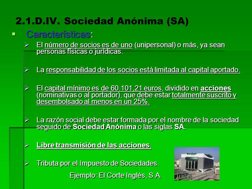 2.1.D.IV. Sociedad Anónima (SA) Características Características Acciones Acciones Derechos de los accionistas Derechos de los accionistas Constitución