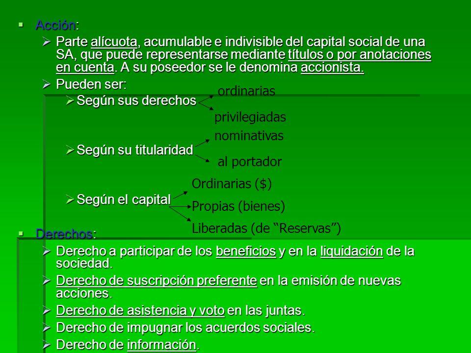 2.1.D.IV. Sociedad Anónima (SA) Características: Características: El número de socios es de uno (unipersonal) o más, ya sean personas físicas o jurídi