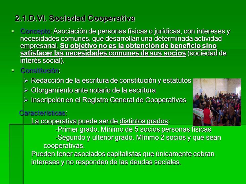 2.1.D.VI. Sociedad Cooperativa Concepto Concepto Constitución Constitución Características Características Cooperativistas Cooperativistas Órganos de