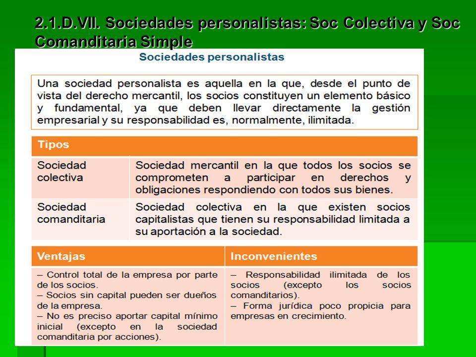 2.1.D.VI. Sociedad Cooperativa Tipos: Tipos: De trabajo asociado De trabajo asociado De consumidores y usuarios De consumidores y usuarios De vivienda