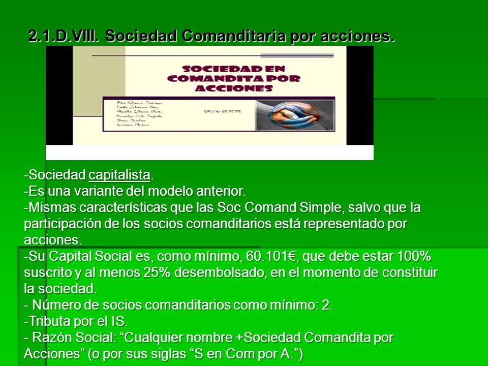 2.1.D.VII. Sociedad Comanditaria Simple Características: -Sociedad, del mismo modo, predominantemente personalista. -No existe Capital Social mínimo.
