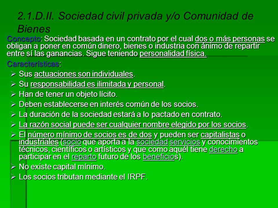 2.1.D.I. El empresario individual o autónomo Concepto: Tipo de empresa en que la propiedad de la empresa individual recae en el mismo empresario, que