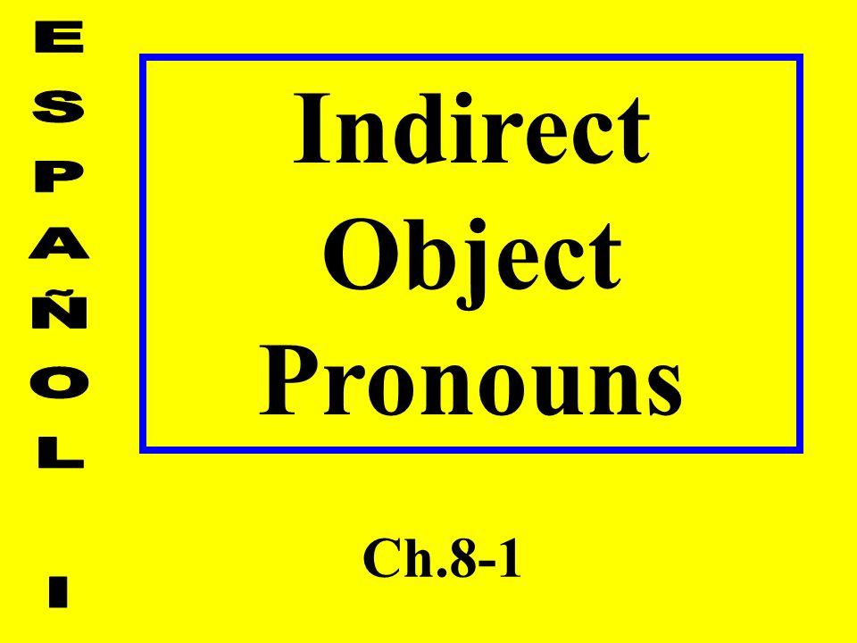 Indirect Object Pronouns Ch.8-1