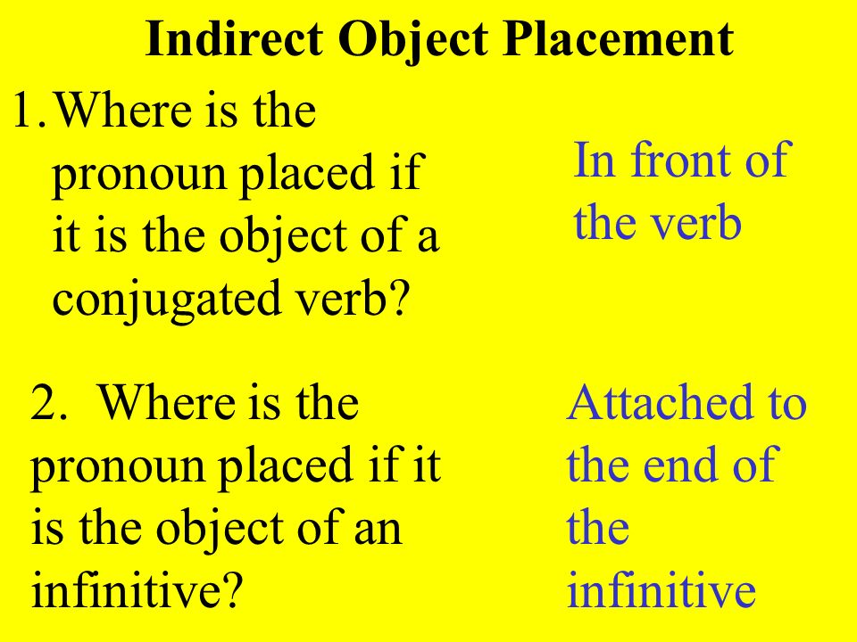 Indirect Object Placement 1.Where is the pronoun placed if it is the object of a conjugated verb? 2. Where is the pronoun placed if it is the object o