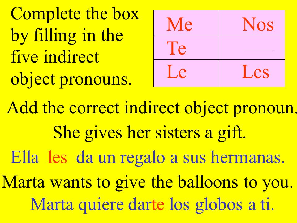 Add the correct indirect object pronoun. Marta wants to give the balloons to you. She gives her sisters a gift. Complete the box by filling in the fiv