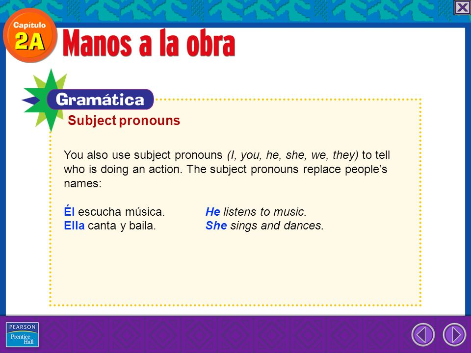 You also use subject pronouns (I, you, he, she, we, they) to tell who is doing an action. The subject pronouns replace peoples names: Él escucha músic