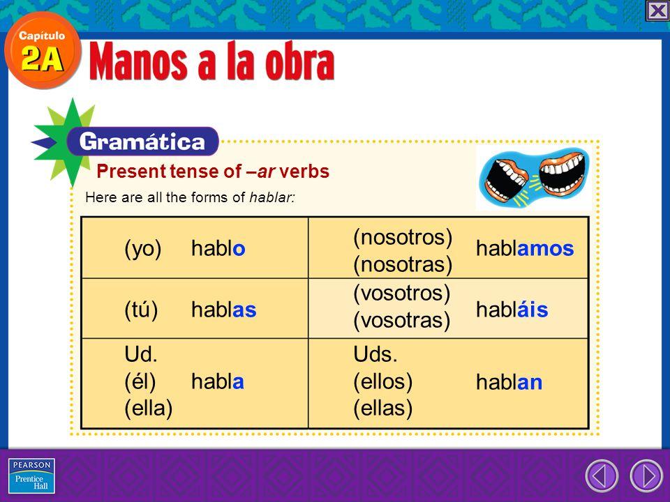 Here are all the forms of hablar: (yo) hablo (tú) hablas Ud. (él) habla (ella) (nosotros) (nosotras) hablamos (vosotros) (vosotras) Uds. (ellos) (ella