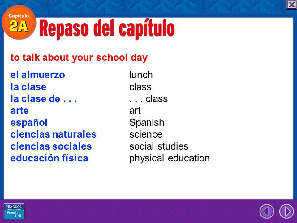 el almuerzo lunch la clase class la clase de...... class arte art español Spanish ciencias naturales science ciencias sociales social studies educació