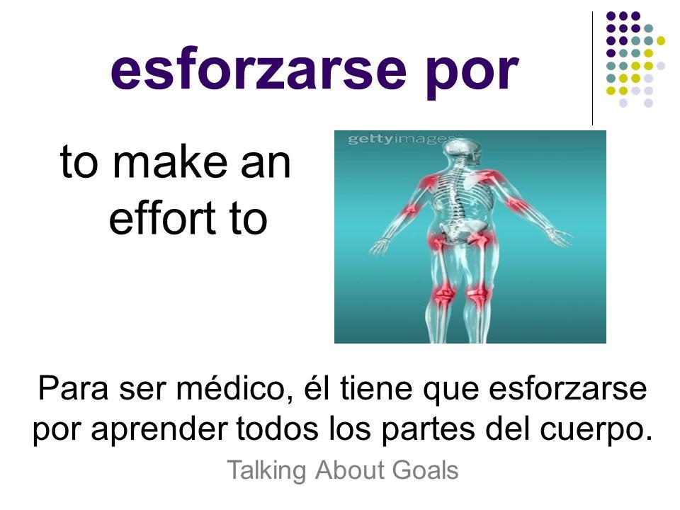 esforzarse por to make an effort to Para ser médico, él tiene que esforzarse por aprender todos los partes del cuerpo. Talking About Goals