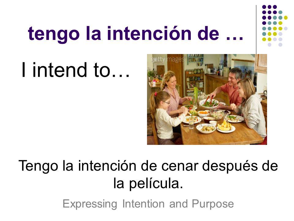 tengo la intención de … I intend to… Tengo la intención de cenar después de la película. Expressing Intention and Purpose
