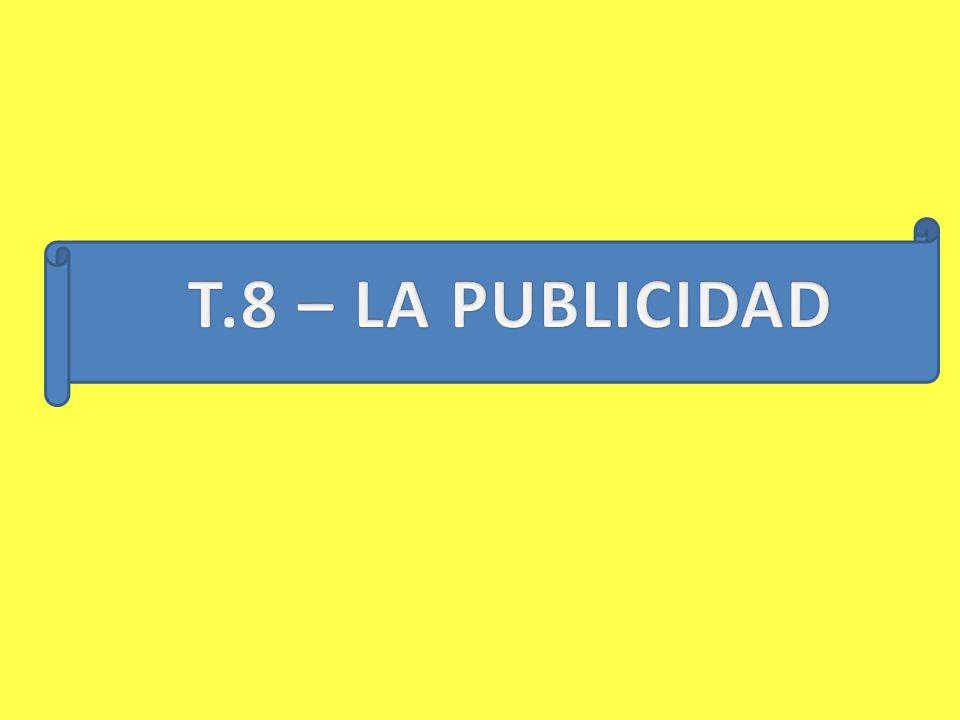 1.- DEFINICIÓN Y CARACTERÍSTICAS 2.- OBJETIVOS 3.- TIPOS DE PUBLICIDAD 4.- ETAPAS DE UNA CAMPAÑA PUBLICITARIA 5.- EL MENSAJE PUCLICITARIO 6.- MEDIOS PUBLICITARIOS 7.- ASPECTOR JURÍDICOS SOBRE LA PUBLICIDAD
