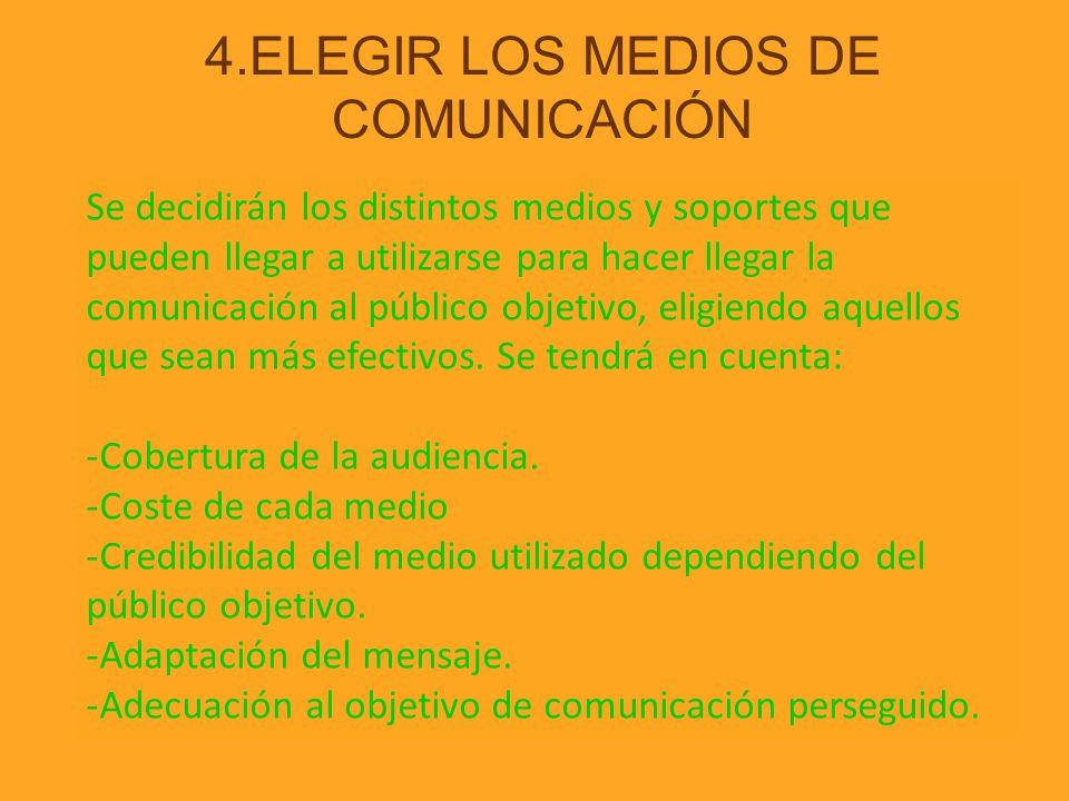 4.ELEGIR LOS MEDIOS DE COMUNICACIÓN Se decidirán los distintos medios y soportes que pueden llegar a utilizarse para hacer llegar la comunicación al p