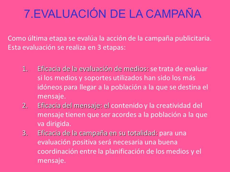 7.EVALUACIÓN DE LA CAMPAÑA Como última etapa se evalúa la acción de la campaña publicitaria. Esta evaluación se realiza en 3 etapas: 1.Eficacia de la