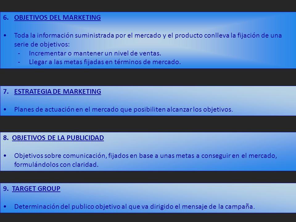 6.OBJETIVOS DEL MARKETING Toda la información suministrada por el mercado y el producto conlleva la fijación de una serie de objetivos: -Incrementar o