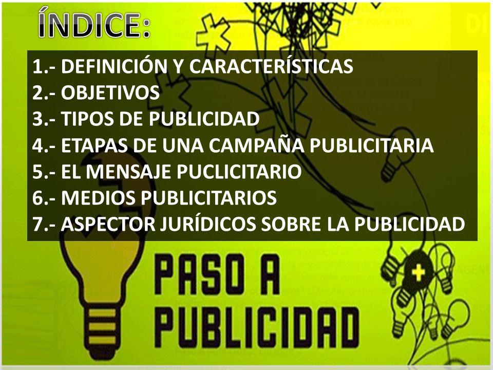 1.- DEFINICIÓN Y CARACTERÍSTICAS 2.- OBJETIVOS 3.- TIPOS DE PUBLICIDAD 4.- ETAPAS DE UNA CAMPAÑA PUBLICITARIA 5.- EL MENSAJE PUCLICITARIO 6.- MEDIOS P