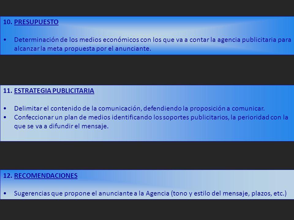 11. ESTRATEGIA PUBLICITARIA Delimitar el contenido de la comunicación, defendiendo la proposición a comunicar. Confeccionar un plan de medios identifi