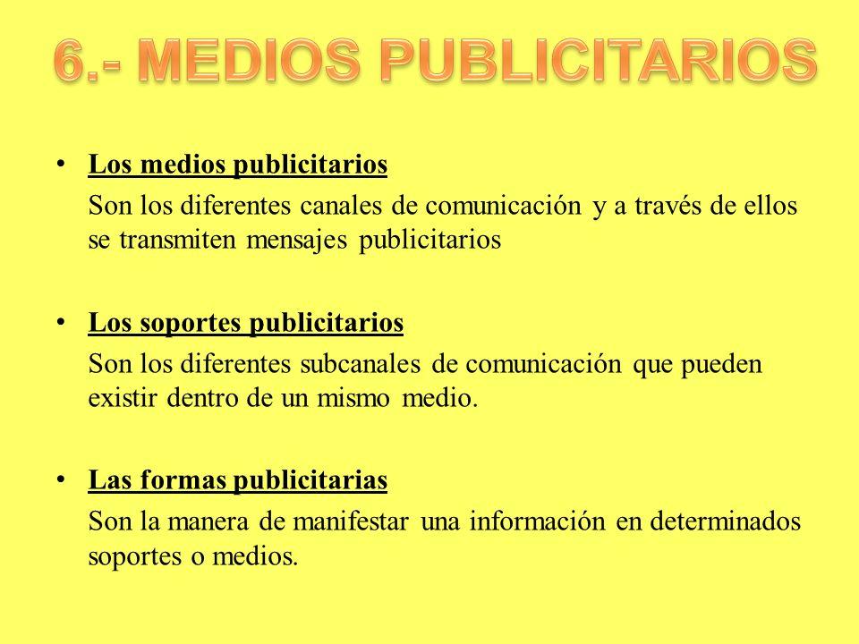 Los medios publicitarios Son los diferentes canales de comunicación y a través de ellos se transmiten mensajes publicitarios Los soportes publicitario