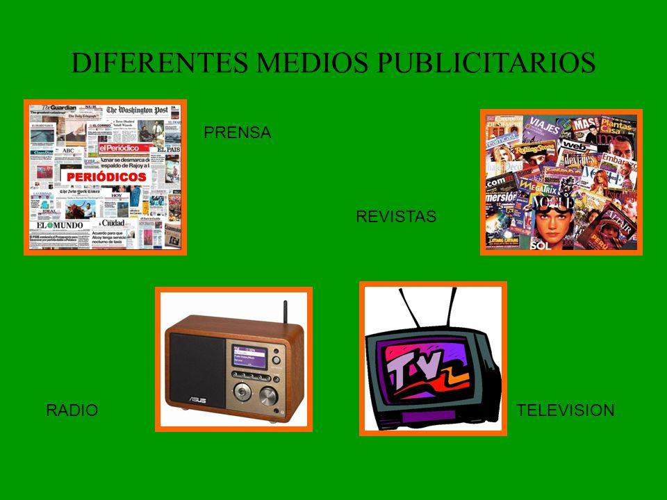 DIFERENTES MEDIOS PUBLICITARIOS PRENSA REVISTAS TELEVISIONRADIO