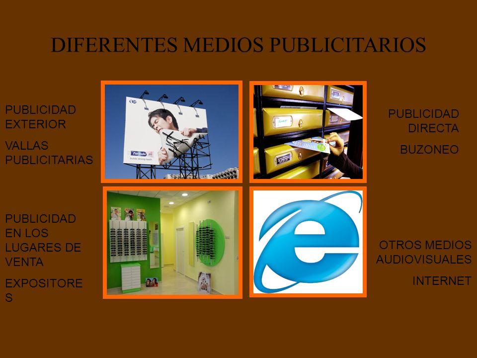 DIFERENTES MEDIOS PUBLICITARIOS PUBLICIDAD EXTERIOR VALLAS PUBLICITARIAS PUBLICIDAD DIRECTA BUZONEO PUBLICIDAD EN LOS LUGARES DE VENTA EXPOSITORE S OT