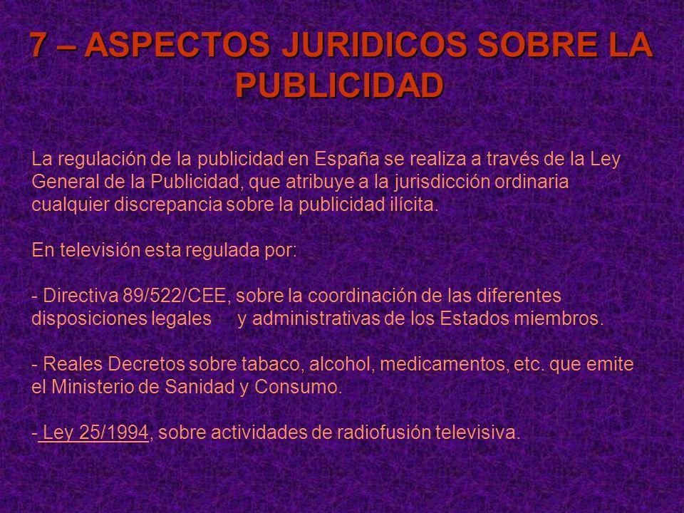 7 – ASPECTOS JURIDICOS SOBRE LA PUBLICIDAD La regulación de la publicidad en España se realiza a través de la Ley General de la Publicidad, que atribu