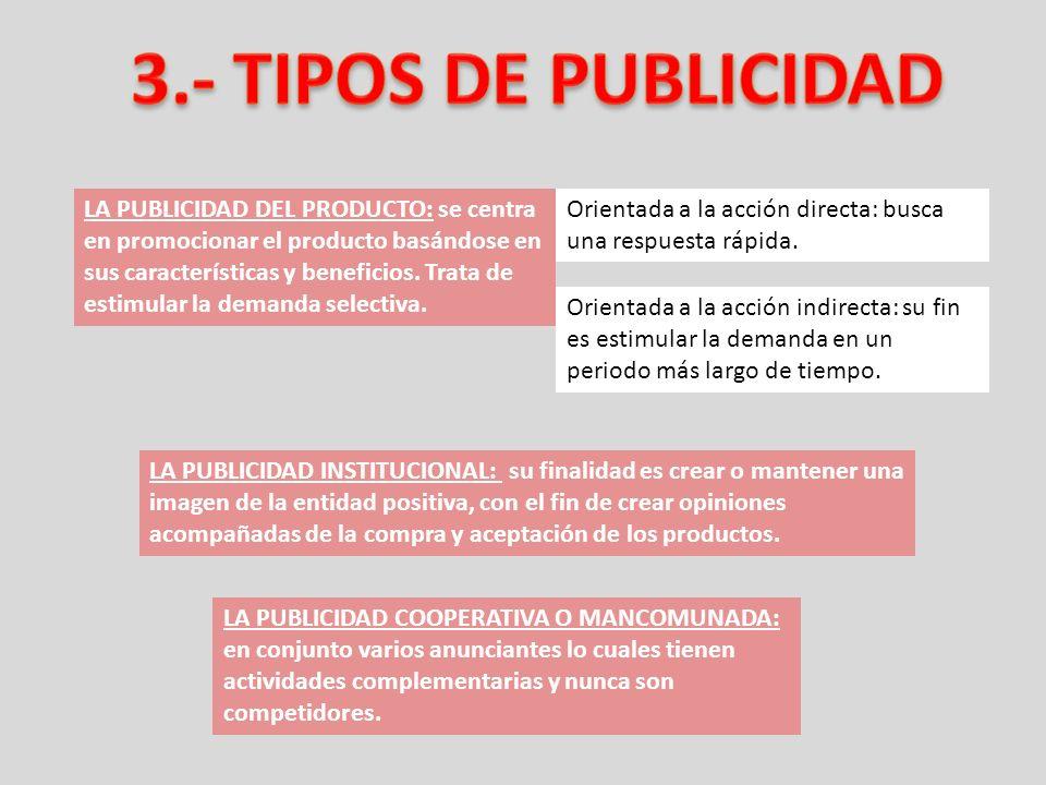LA PUBLICIDAD DEL PRODUCTO: se centra en promocionar el producto basándose en sus características y beneficios. Trata de estimular la demanda selectiv