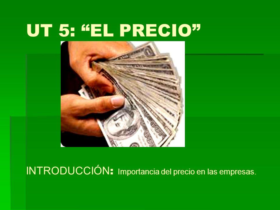 UT 5: EL PRECIO INTRODUCCIÓN : Importancia del precio en las empresas.