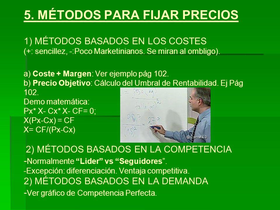 5. MÉTODOS PARA FIJAR PRECIOS 1) MÉTODOS BASADOS EN LOS COSTES (+: sencillez, -:Poco Marketinianos. Se miran al ombligo). a) Coste + Margen: Ver ejemp