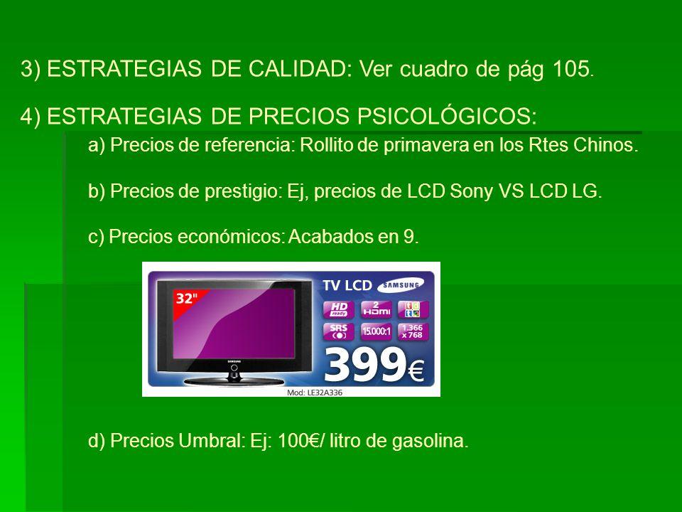 4) ESTRATEGIAS DE PRECIOS PSICOLÓGICOS: a) Precios de referencia: Rollito de primavera en los Rtes Chinos. b) Precios de prestigio: Ej, precios de LCD