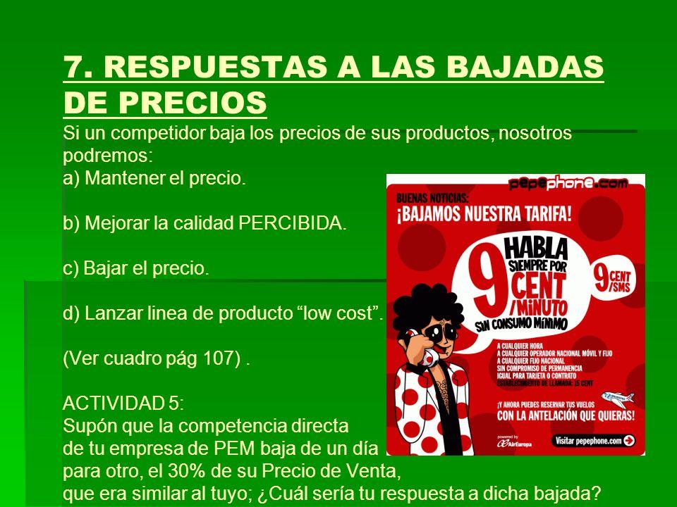 7. RESPUESTAS A LAS BAJADAS DE PRECIOS Si un competidor baja los precios de sus productos, nosotros podremos: a) Mantener el precio. b) Mejorar la cal