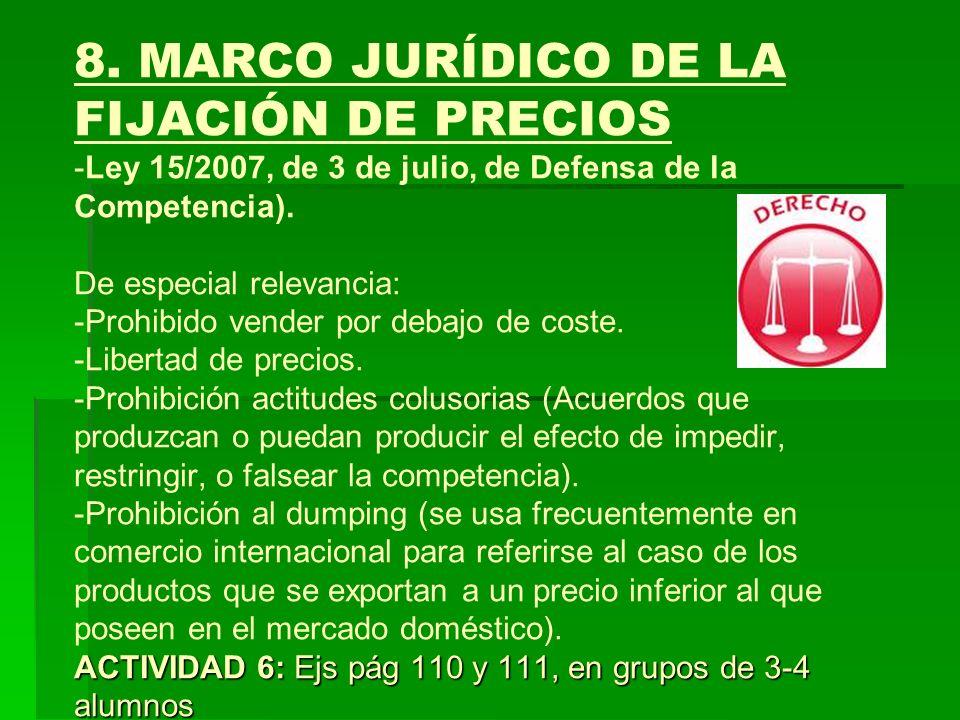 ACTIVIDAD 6: Ejs pág 110 y 111, en grupos de 3-4 alumnos 8. MARCO JURÍDICO DE LA FIJACIÓN DE PRECIOS -Ley 15/2007, de 3 de julio, de Defensa de la Com