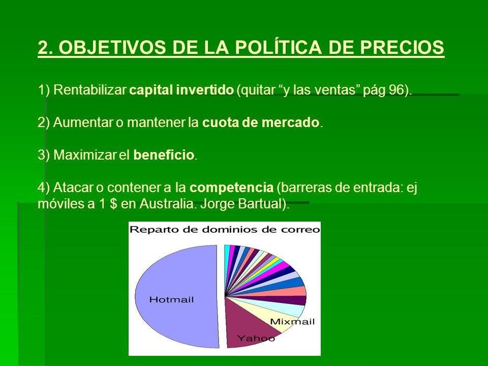 2. OBJETIVOS DE LA POLÍTICA DE PRECIOS 1) Rentabilizar capital invertido (quitar y las ventas pág 96). 2) Aumentar o mantener la cuota de mercado. 3)