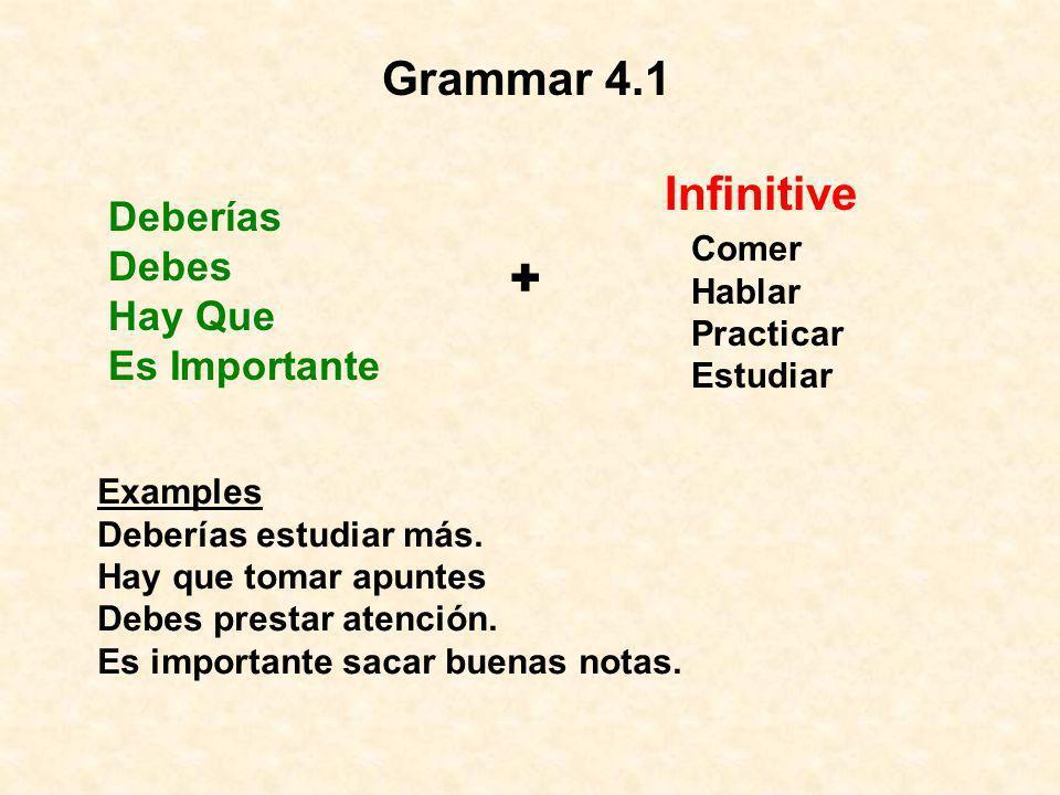 Grammar 4.1 Deberías Debes Hay Que Es Importante + Infinitive Comer Hablar Practicar Estudiar Examples Deberías estudiar más. Hay que tomar apuntes De