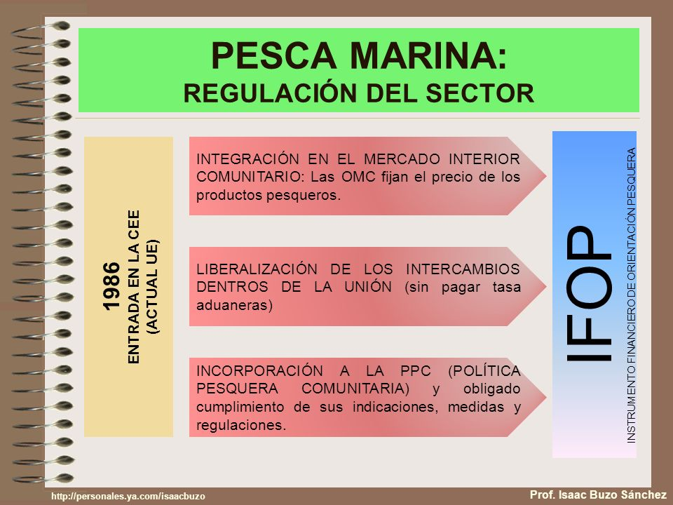 PESCA MARINA: REGULACIÓN DEL SECTOR Prof. Isaac Buzo Sánchez 1986 ENTRADA EN LA CEE (ACTUAL UE) INTEGRACIÓN EN EL MERCADO INTERIOR COMUNITARIO: Las OM