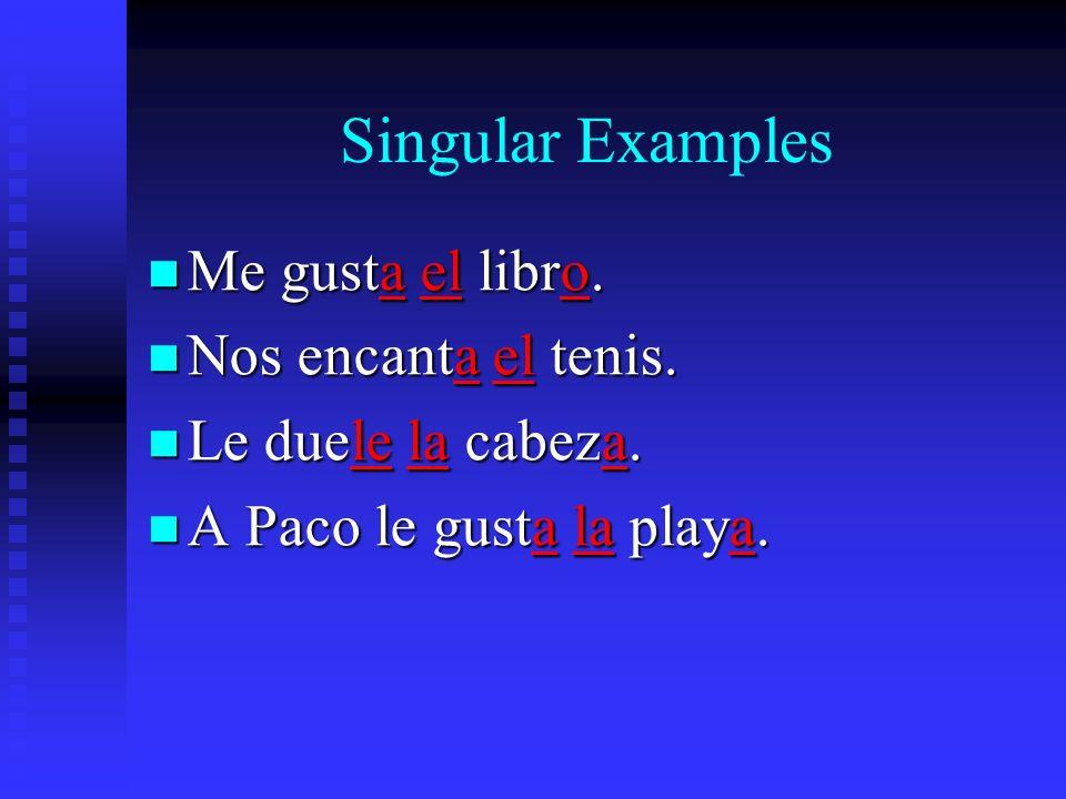 Singular Examples Me gusta el libro. Me gusta el libro.
