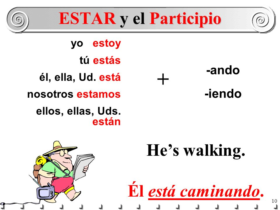 9 In English you would never say: He walking. or She working. You say: Hes walking. or He is walking. Shes working. or She is working. ESTAR + -ando o