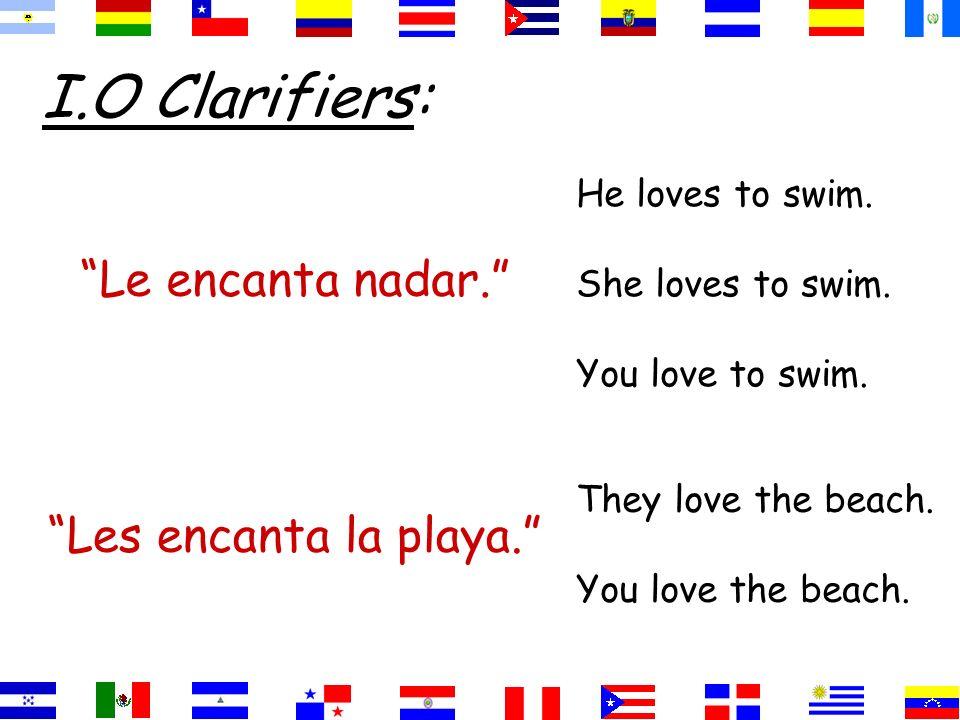 I.O Clarifiers: Le encanta nadar. He loves to swim. She loves to swim. You love to swim. Les encanta la playa. They love the beach. You love the beach