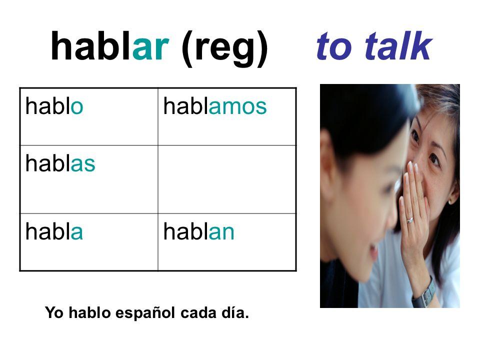 hablar (reg) to talk hablohablamos hablas hablahablan Yo hablo español cada día.